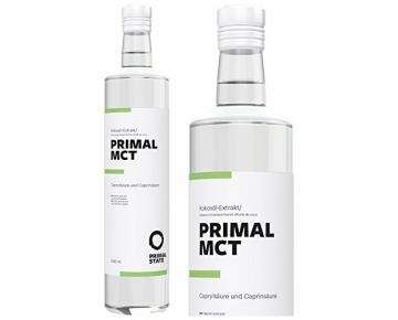 PRIMAL MCT Öl in Glasflasche | Premium-Extrakt aus Kokosöl | Geschmacksneutral | Laborgeprüft | Caprylsäure (C-8) und Caprinsäure (C-10) | Bulletproof Coffee | MCT Oil - 500ml